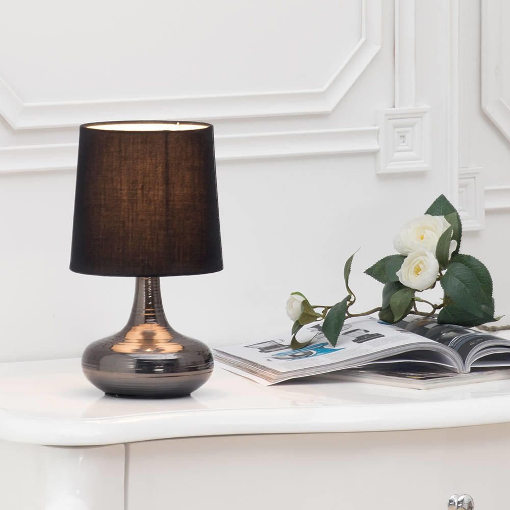 Mini Scratched Bedside Table Lamp In Black With Shade