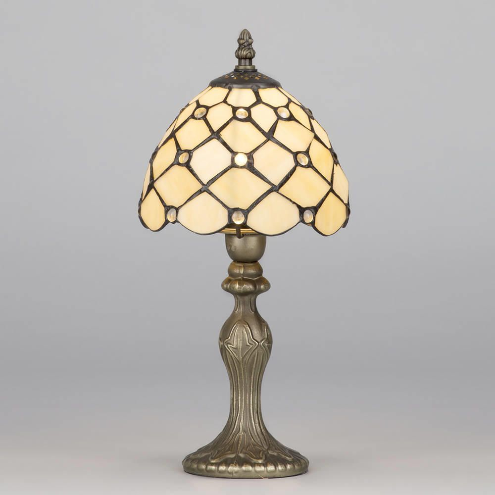 tiffany jewel 8 inch antique brass table lamp w honey shade. Black Bedroom Furniture Sets. Home Design Ideas