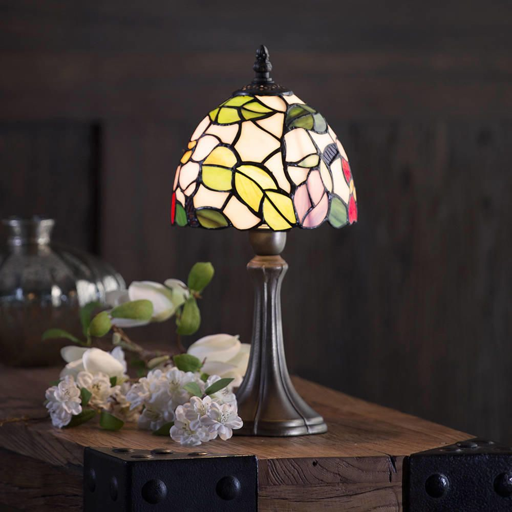 Floral 8 Inch Antique Brass Table Lamp Multi Coloured Shade