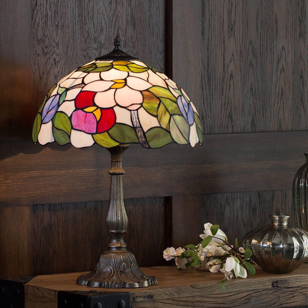 Tiffany Table Lamp With Multi Coloured Shade Floral 16