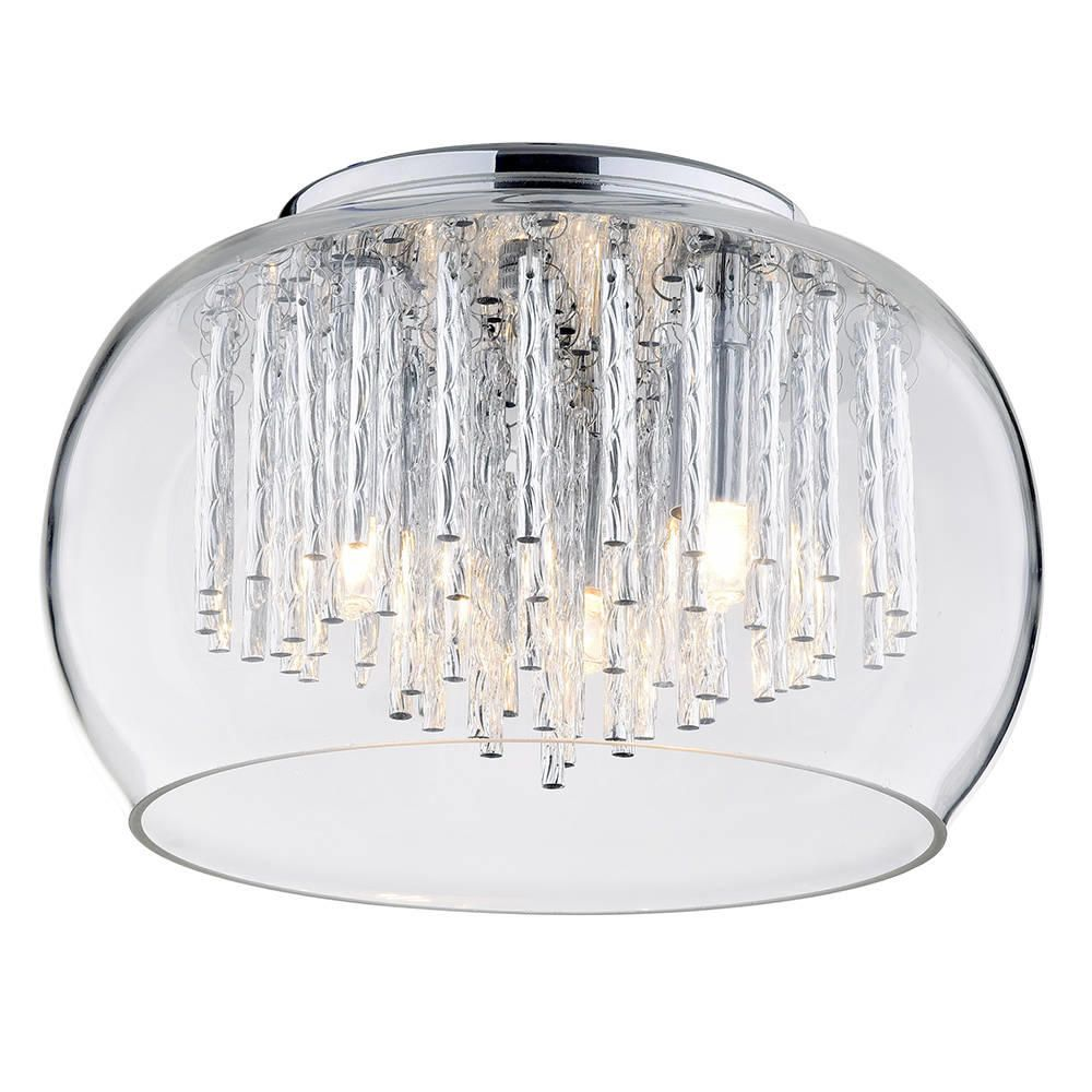 Flush glass ceiling light with bowl shade 3 light chrome from litecraft 3 light flush ceiling bowl shade with aluminium rods chrome glass fastfree delivery mozeypictures Images