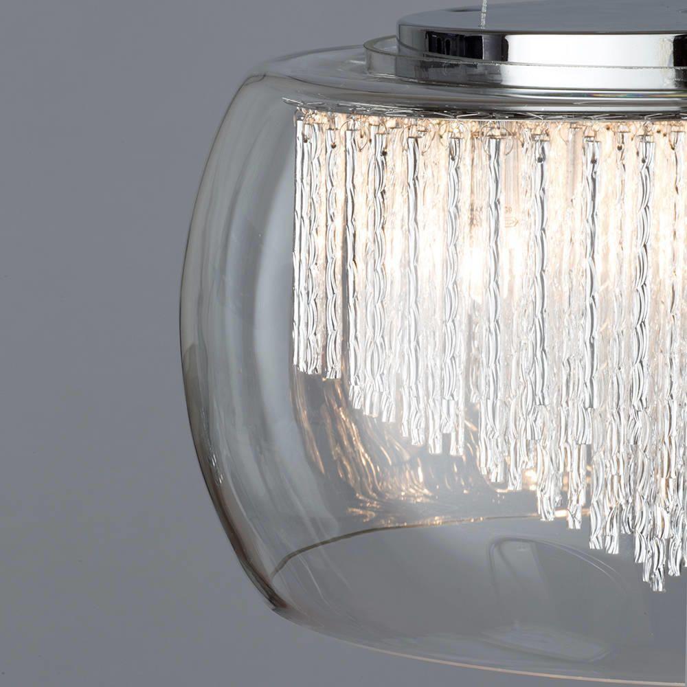 Chrome Amp Glass 5 Light Ceiling Pendant Bowl Shade Litecraft