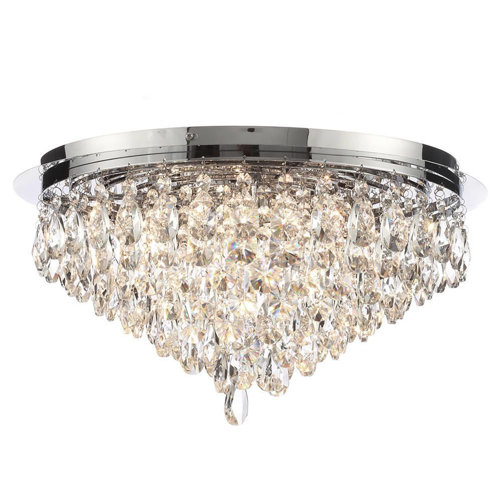 Crystal Flush Ceiling Light Chrome Free Delivery