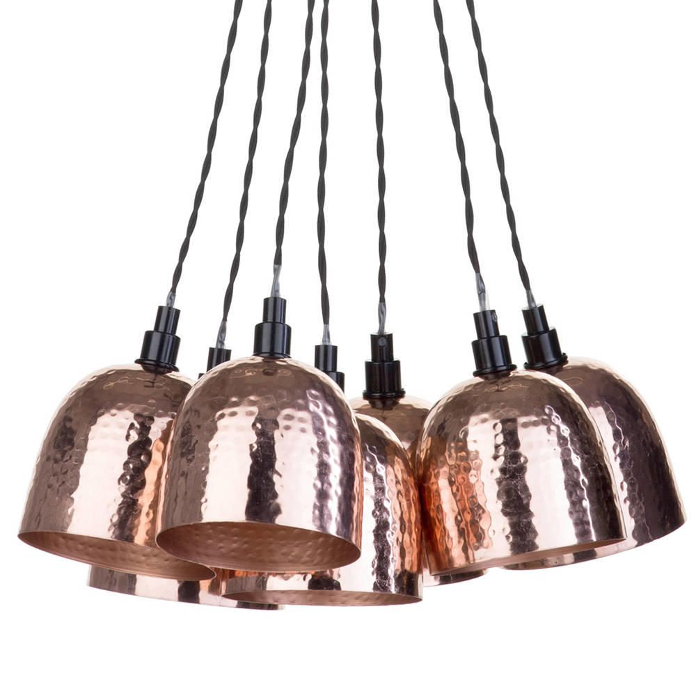 Litecraft 7 Light Cluster Ceiling Pendant with Hammered Shades - Copper