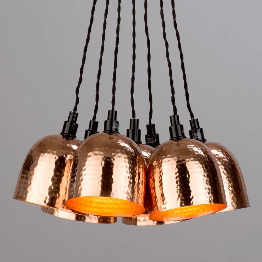 7 light cluster ceiling pendant copper hammered shades copper trend interior electricals accessories aloadofball Images