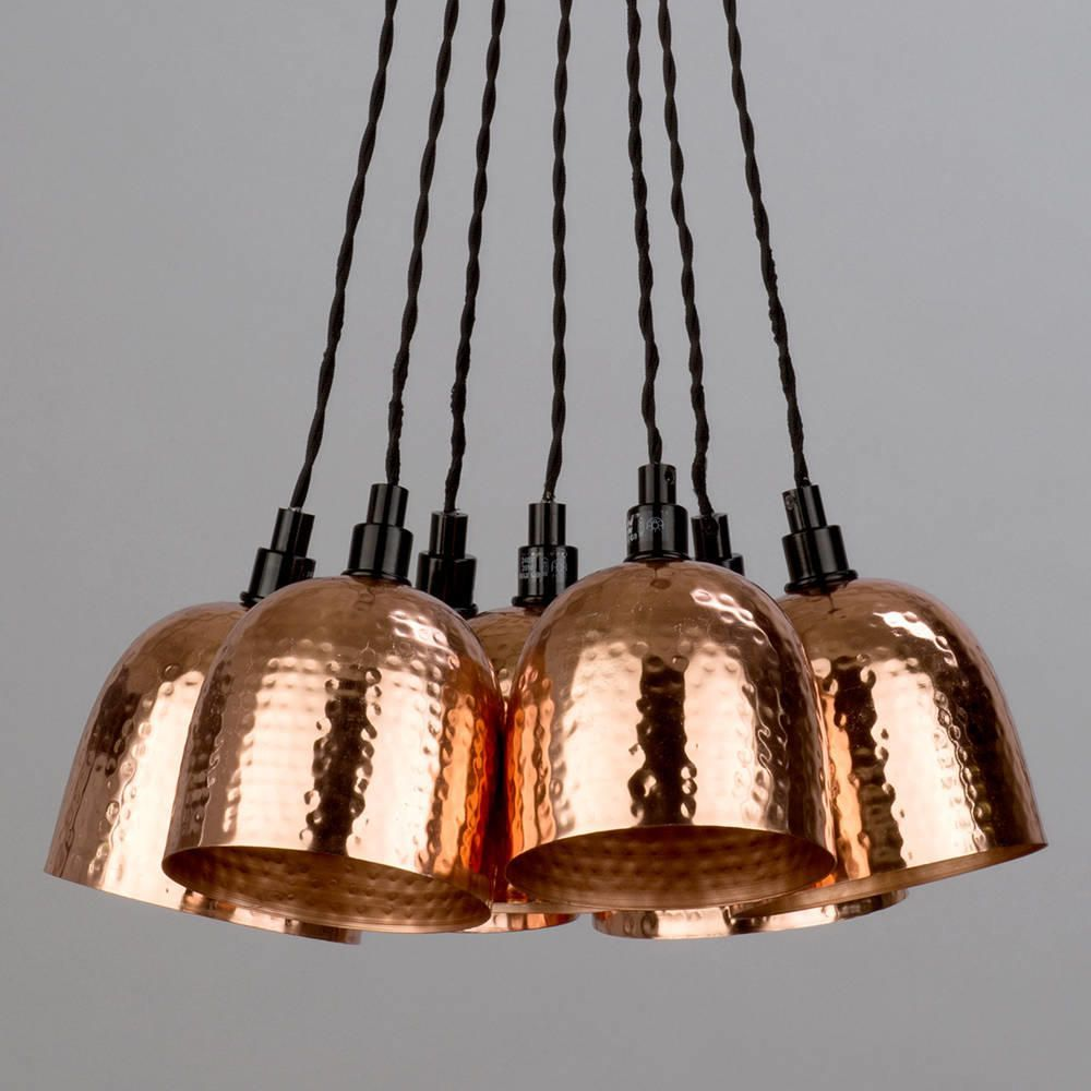 7 Light Cluster Ceiling Pendant Copper Hammered Shades