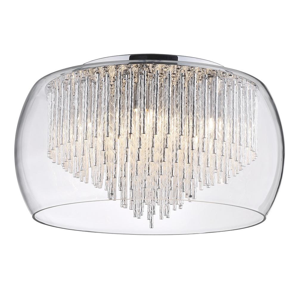5 Light Tiered Glass Shade with Aluminium Rods - Chrome & Glass