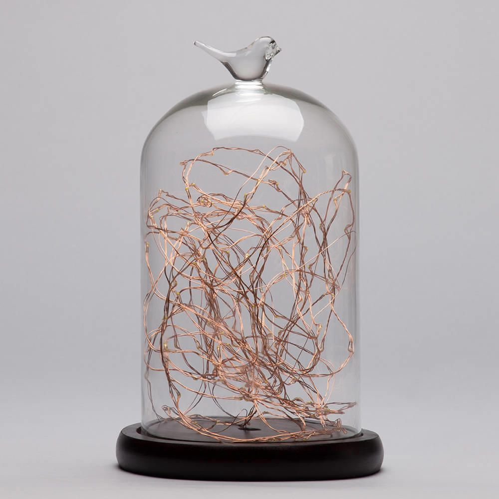 Bell Jar Table Light - Dark Wood & Copper from Litecraft
