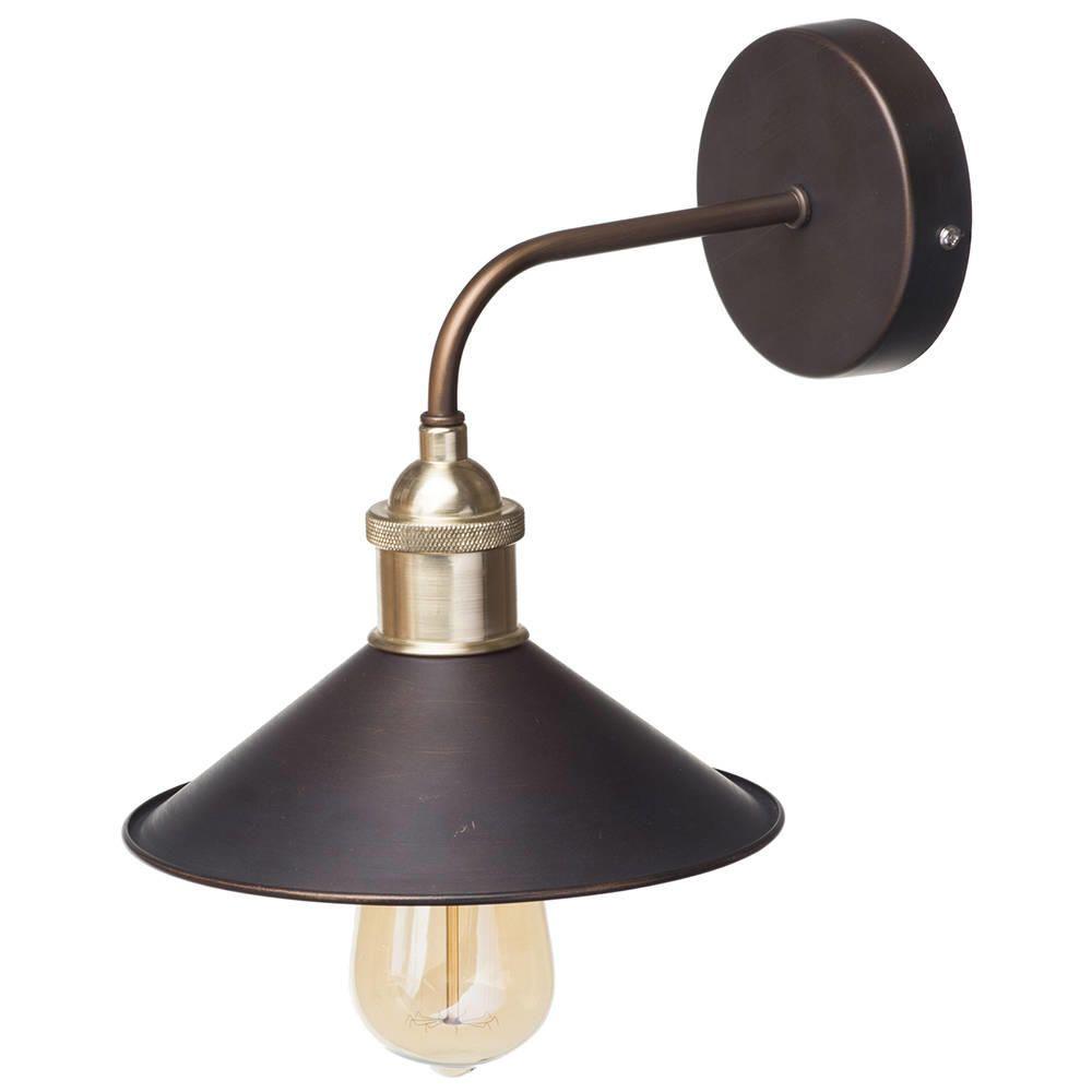 1 Light Industrial Diner Wall Light Bronze
