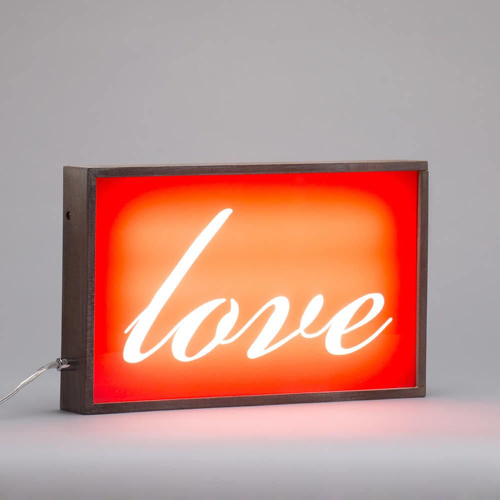 Wall Photo Light Box : Love Wall Light Box with Rustic Frame - Red from Litecraft
