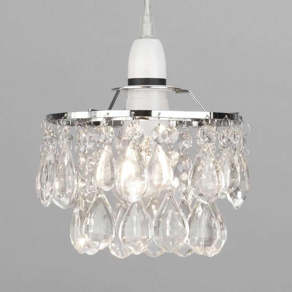 Easy to fit crystal effect droplet ceiling shade chrome small elegant flower shaded easy fit light shade accessory aloadofball Choice Image