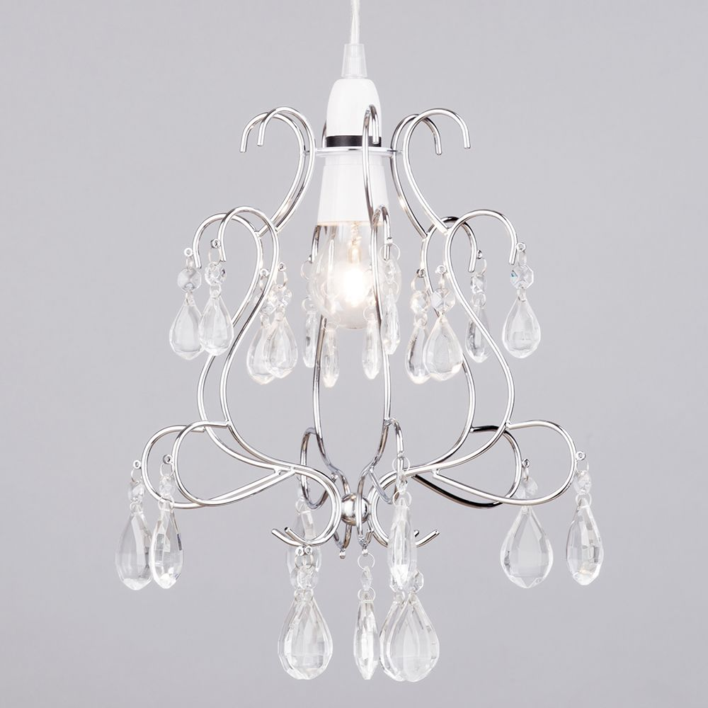 Crystal droplet effect easy to fit ceiling shade chrome from litecraft easy fit light shade with glass crystals aloadofball Choice Image