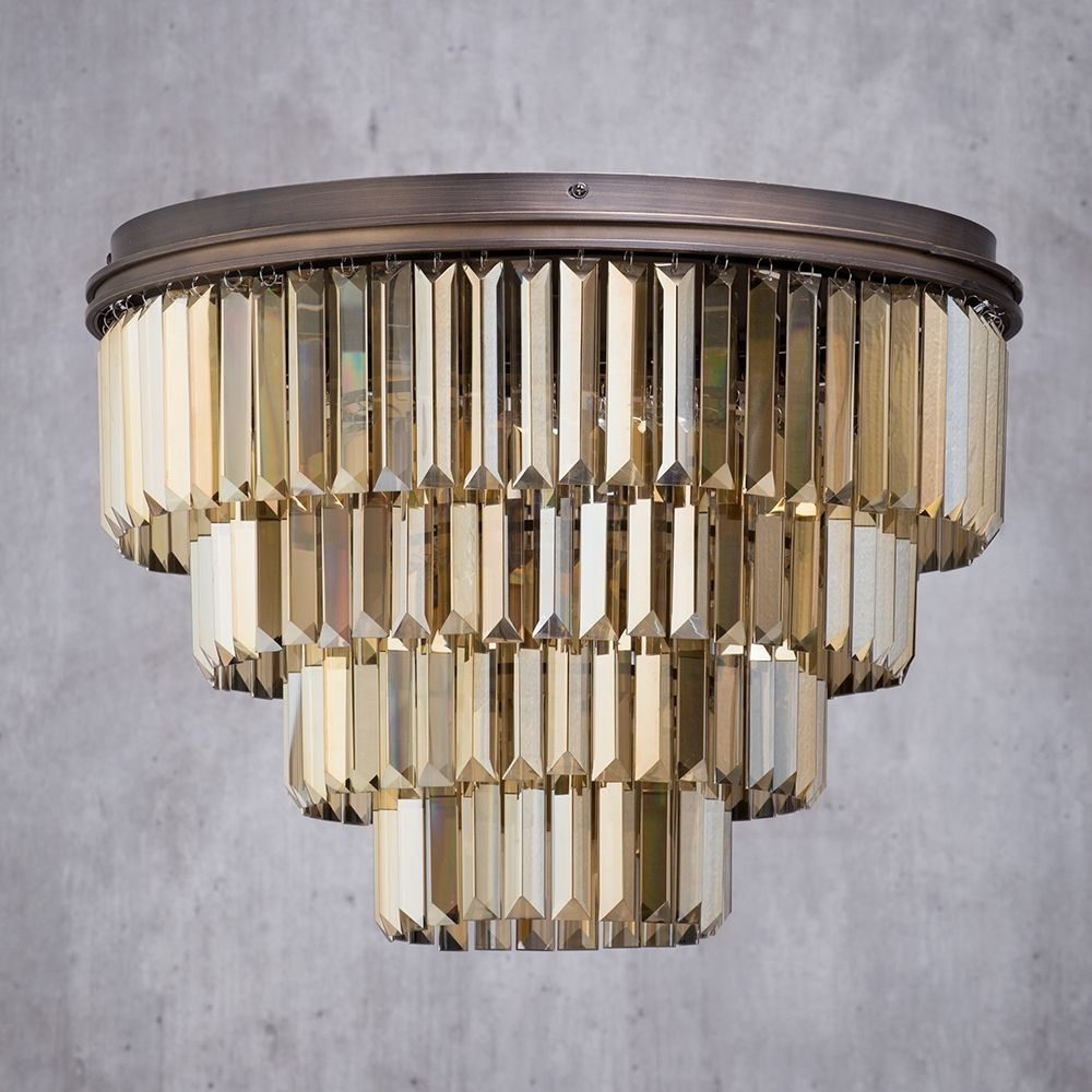 Ingot 7 Light Crystal Pism Bar Ceiling Pendant Rust From