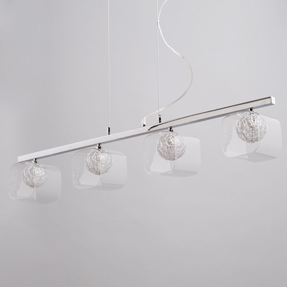 A Guide To Kitchen Lighting From Litecraft: Verona 4 Light Pendant Bar With Glass Shade