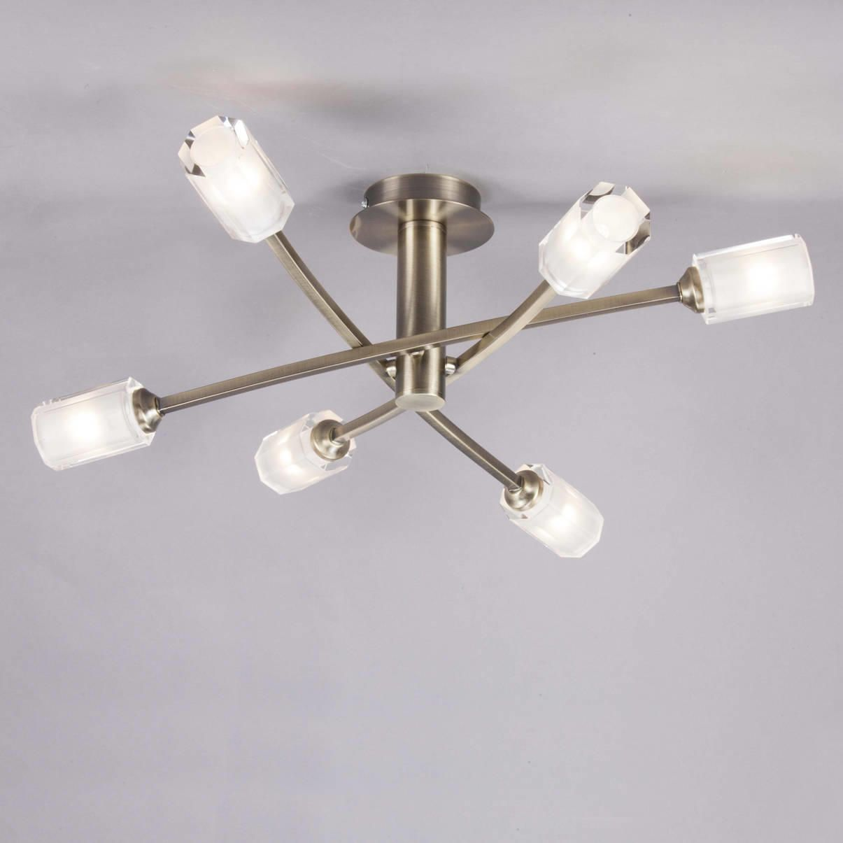 octi semi flush ceiling light antique brass from litecraft. Black Bedroom Furniture Sets. Home Design Ideas