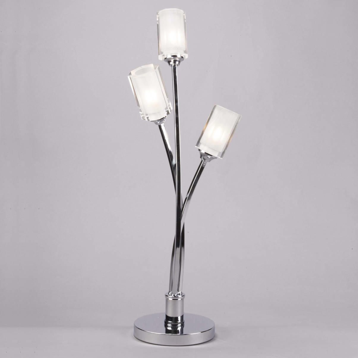 Modern table lamp octi 3 light chrome from litecraft metal frame glass shade table lamps aloadofball Gallery