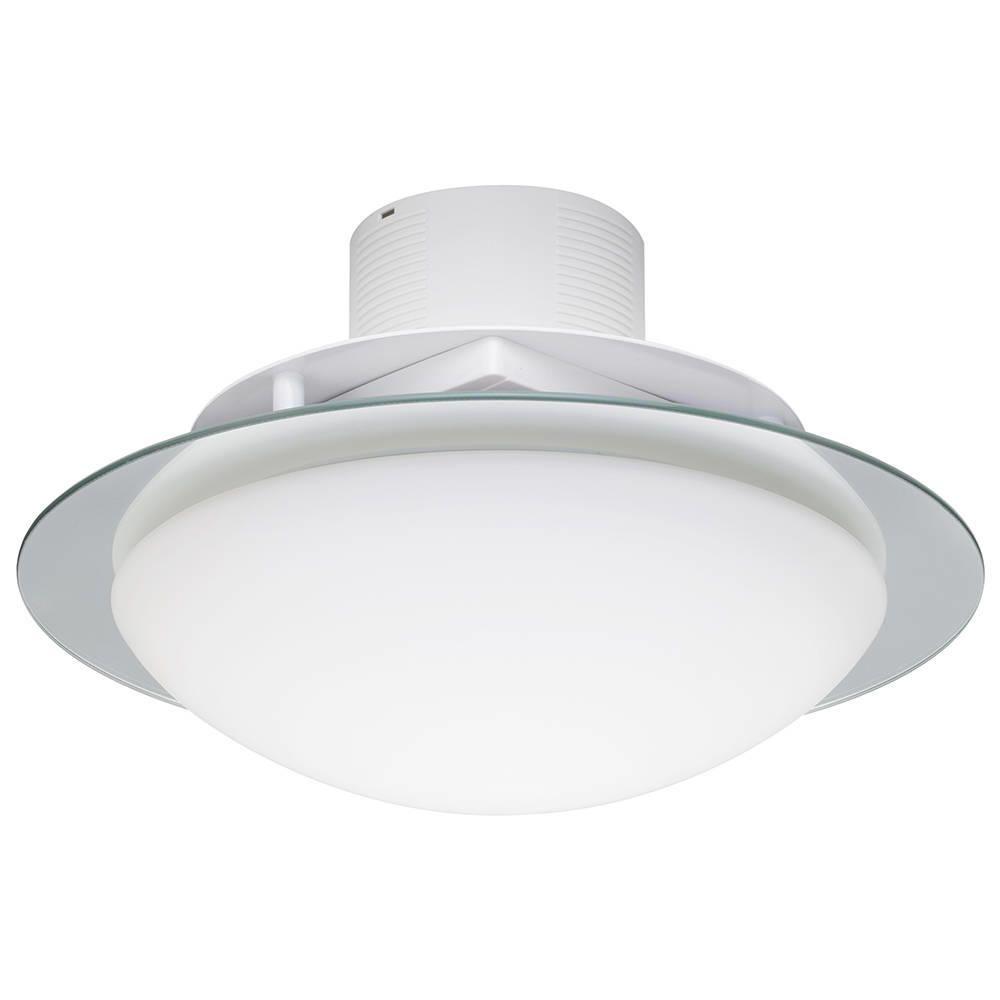 2 Light Flush Bathroom Ceiling Light with Extractor Fan  Opal
