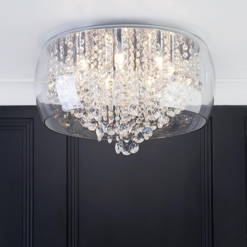 Marquis by Waterford - Nore LED Large Encased Flush Bathroom Ceiling Light - Chrome u0026 Glass From ...