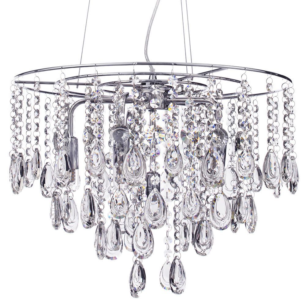 Marquis by Waterford Liffey LED 6 Light Bathroom Ceiling Light Pendant Chrome