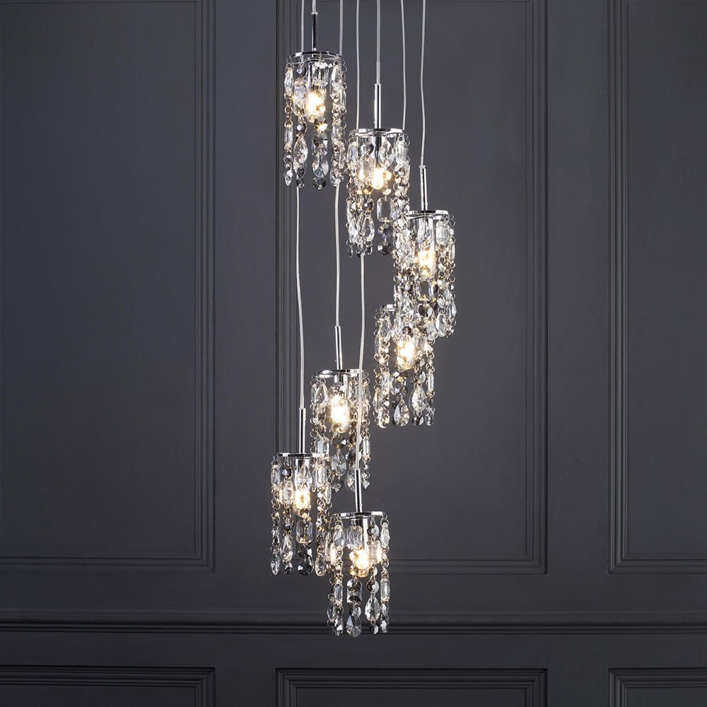 Marquis by Waterford - Lagan LED 7 Light Cascading Bathroom Ceiling Pendant - Chrome From Litecraft