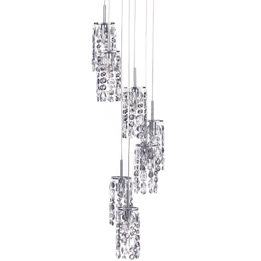 Marquis by Waterford Lagan LED 7 Light Cascading Bathroom Ceiling Pendant Chrome