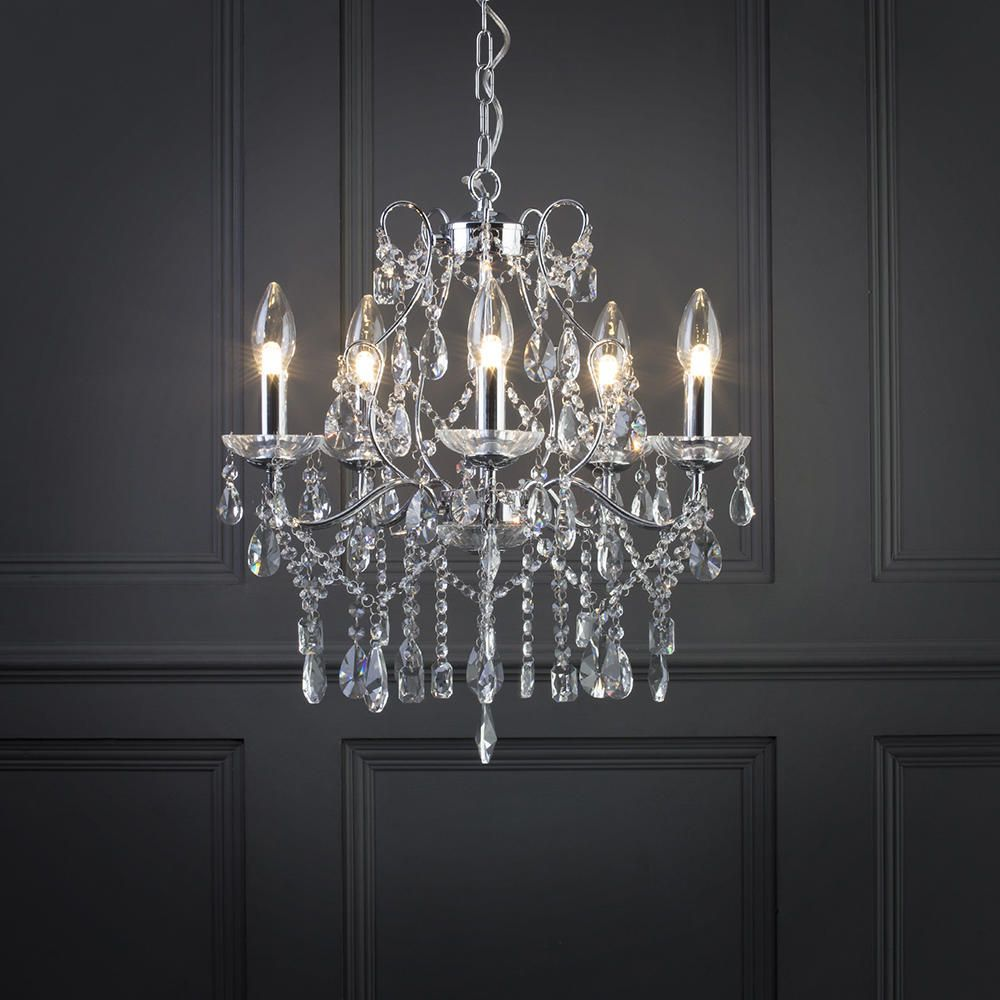 Marquis by waterford annalee large led 5 light bathroom for Bathroom chandeliers