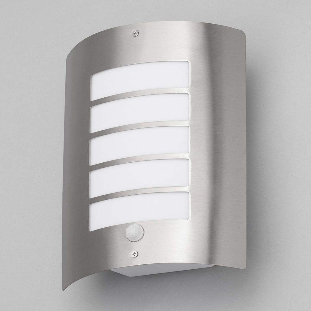 Litecraft Outdoor Wall Lights : Severn Slatted PIR Outdoor Wall Light - Satin Chrome from Litecraft