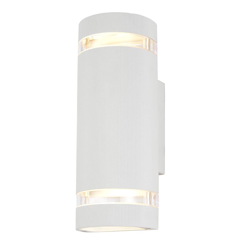 Wall Lights Litecraft : Helo 2 Light Outdoor Grooved Up and Down Wall Light - White From Litecraft