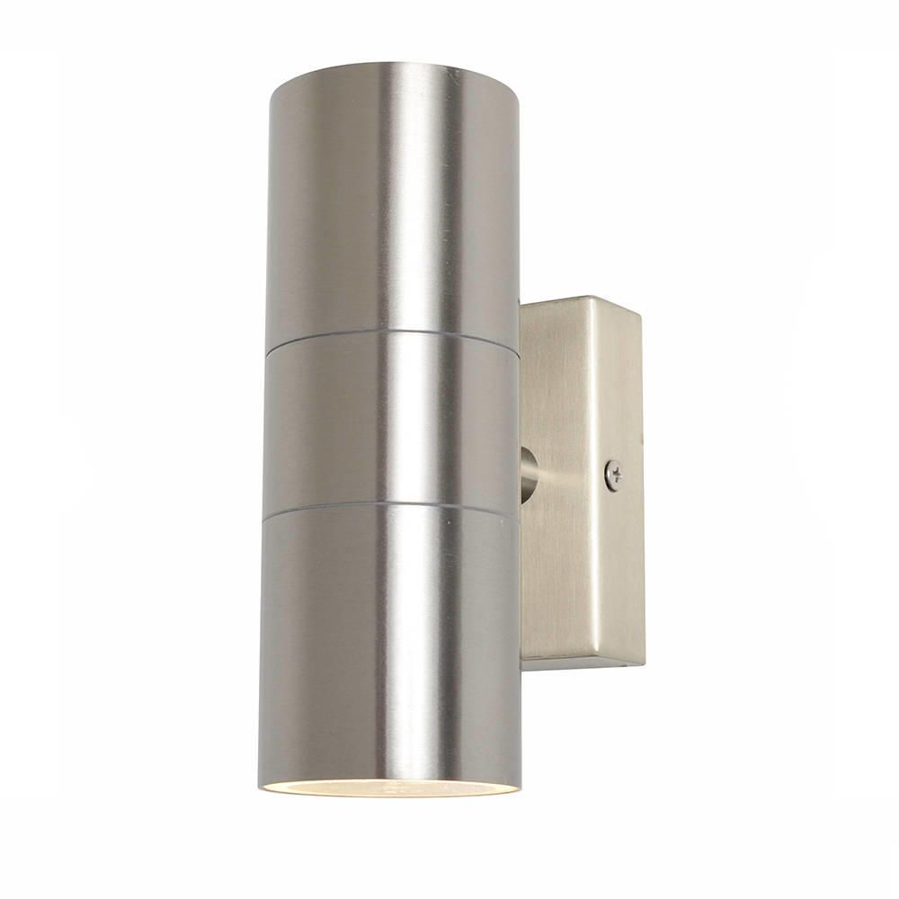 Chrome Garden Wall Lights : Kenn Up & Down Light Outdoor Wall Light - Satin Chrome from Litecraft