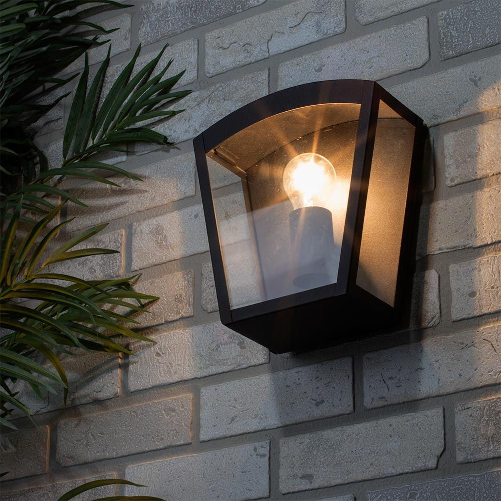 Hamble Outdoor Lantern Curved Wall Light Black Litecraft