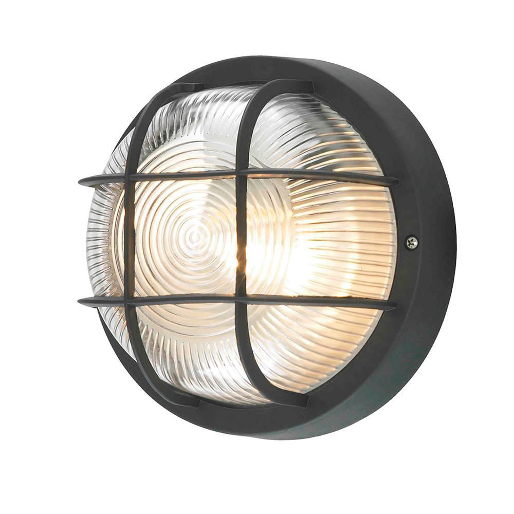 Mole Polycarbonate Round Bulkhead Outdoor Wall Light - Black from Litecraft