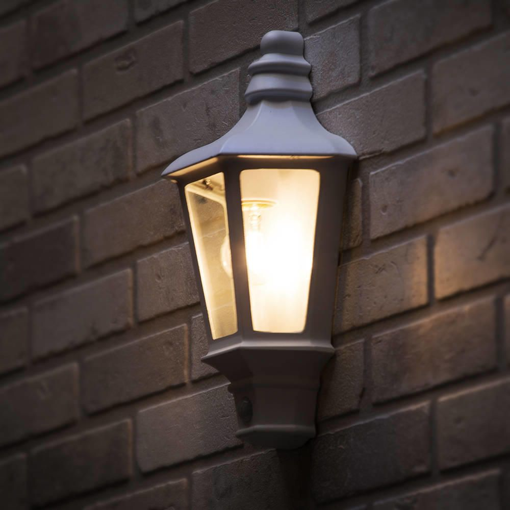 Perry outdoor pir half lantern white from litecraft white outdoor wall lights aloadofball Choice Image