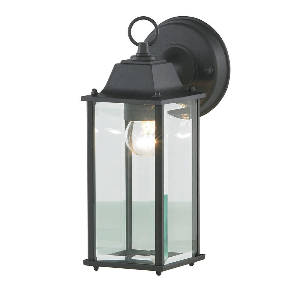 Colone outdoor lantern bevelled glass wall light black for Outside lighting fixtures home