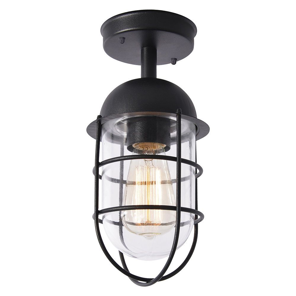 Litecraft Outdoor Wall Lights : Cari 1 Light Caged Outdoor Lantern - Black From Litecraft