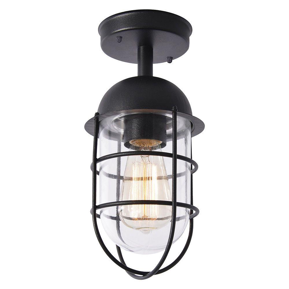 Cari 1 Light Caged Outdoor Lantern Black