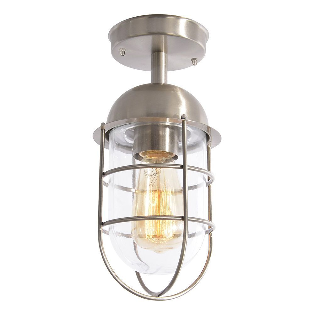 Litecraft Outdoor Wall Lights : Cari 1 Light Caged Outdoor Lantern - Stainless Steel From Litecraft