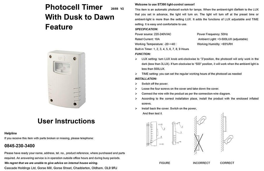 Outdoor Photocell Timer W Dusk To Dawn Feature Light Grey