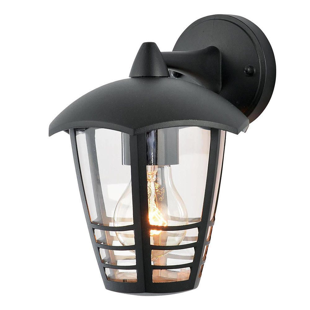 Francis Outdoor 1 Light Die Cast Curved Wall Lantern - Black
