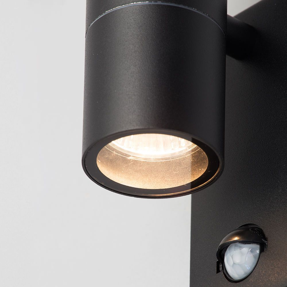 Leto 2 Light Outdoor Up and Down Wall Light with PIR Sensor - Black From Litecraft