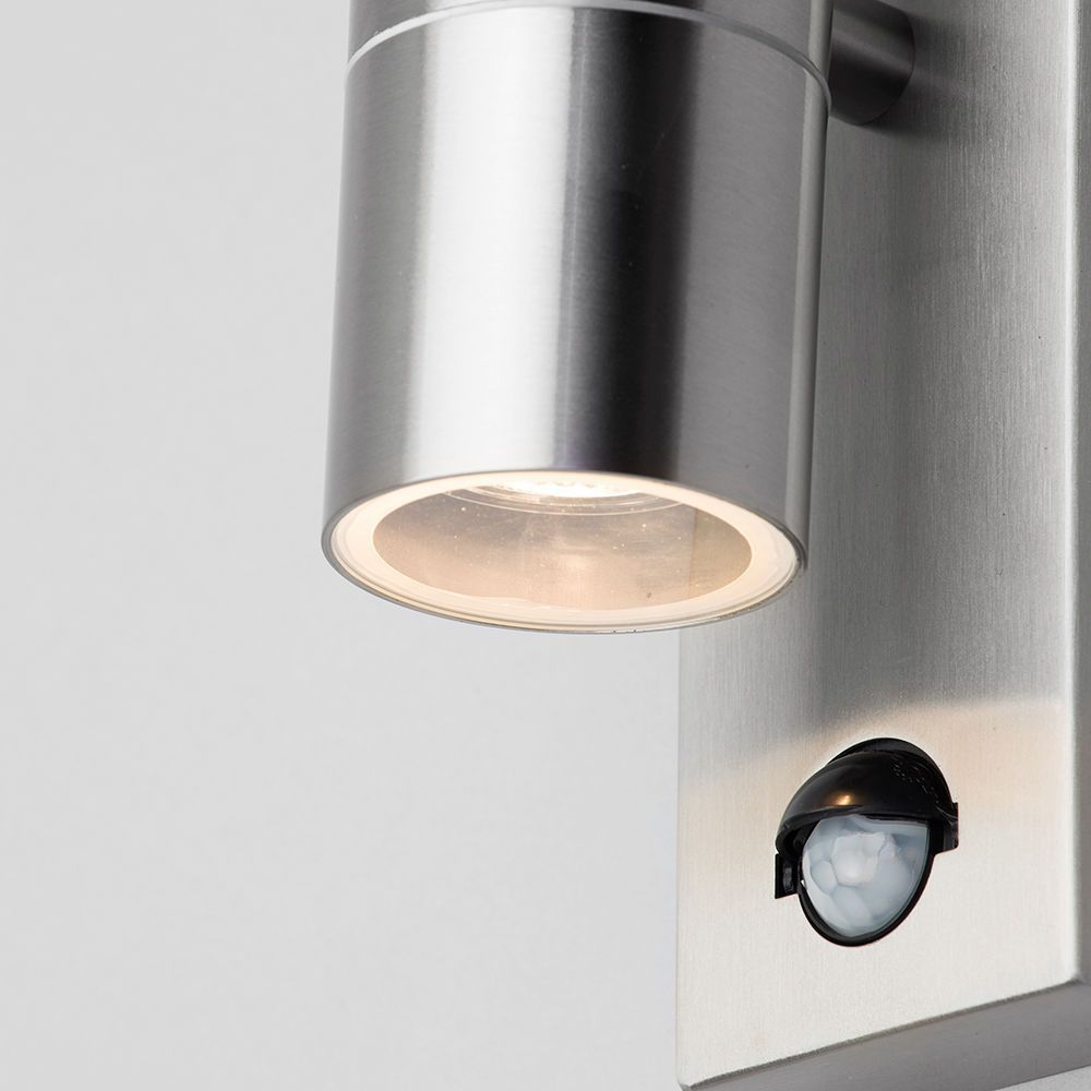 Leto 2 Light Outdoor Up and Down Wall Light with PIR Sensor - Stainless Steel From Litecraft