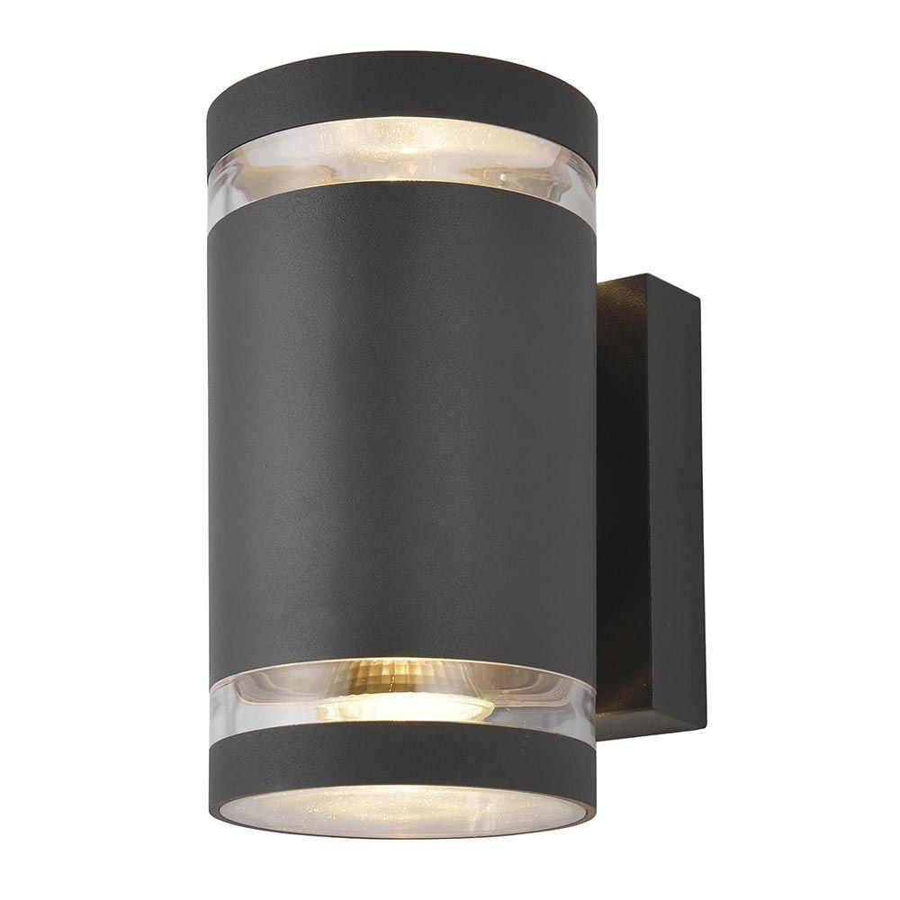 Helo 2 Light Outdoor Grooved Up and Down Wall Light - Dark Grey From Litecraft