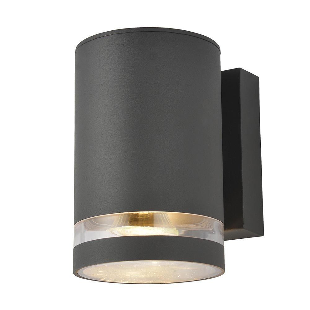 Litecraft Outdoor Wall Lights : Helo 1 Light Outdoor Grooved Down Wall Light - Dark Grey From Litecraft