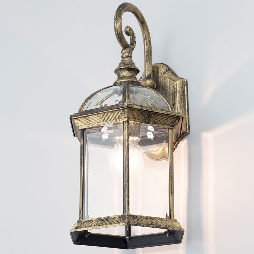 1 Light Outdoor Distressed Effect Lantern Wall Light Antique Brass From Lit