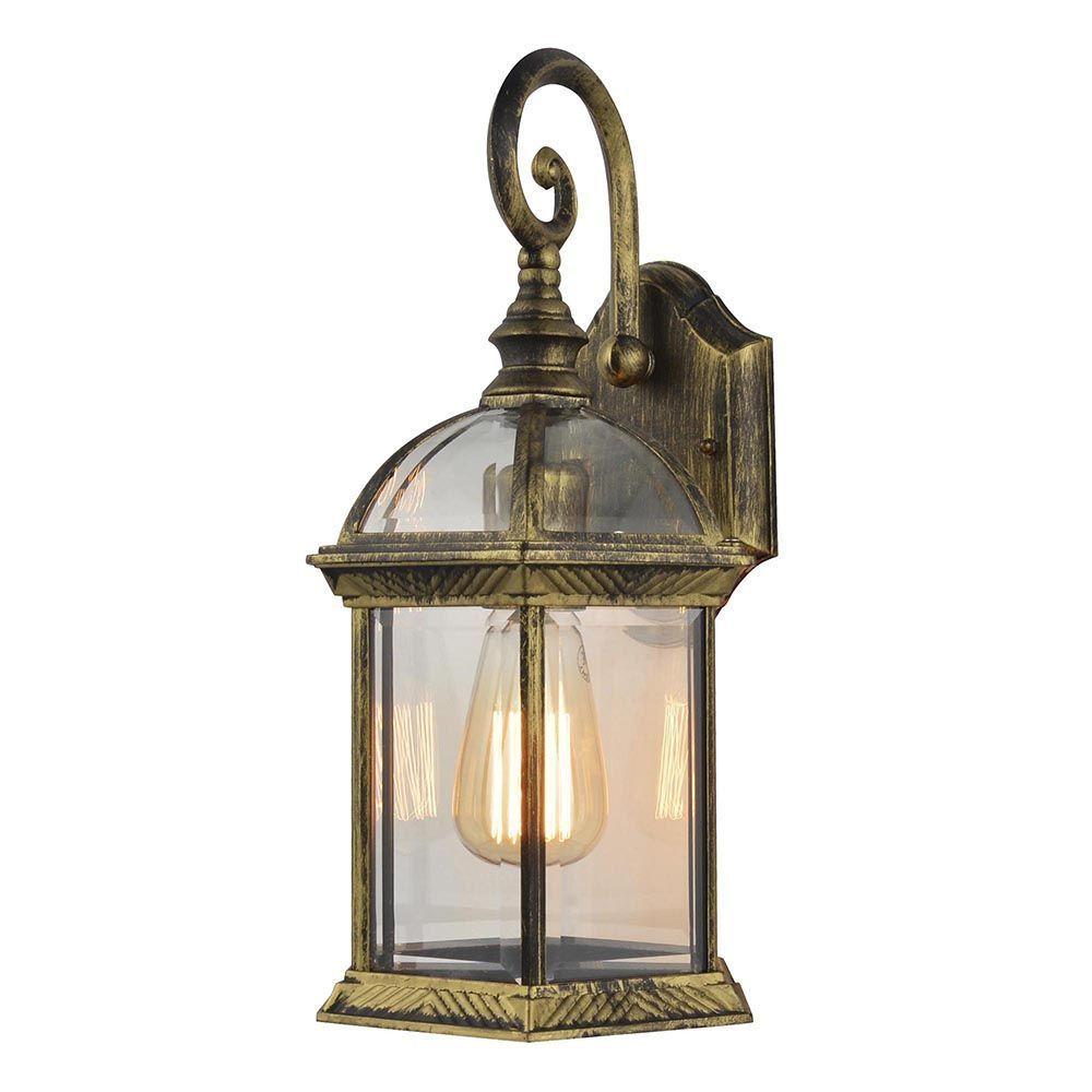 1 Light Outdoor Distressed Effect Lantern Wall Light  Antique Brass