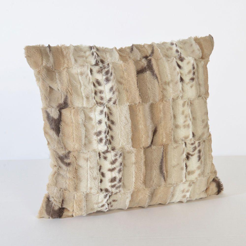 Litecraft Jackal Panel Faux Fur Cushion - Natural