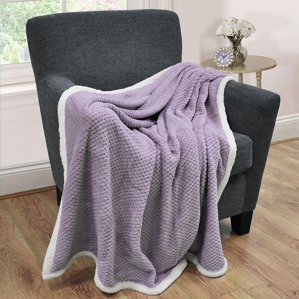 Litecraft Waffle Blanket with Sherpa Lining - Purple