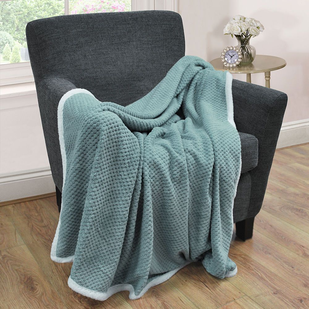Litecraft Waffle Blanket with Sherpa Lining - Teal