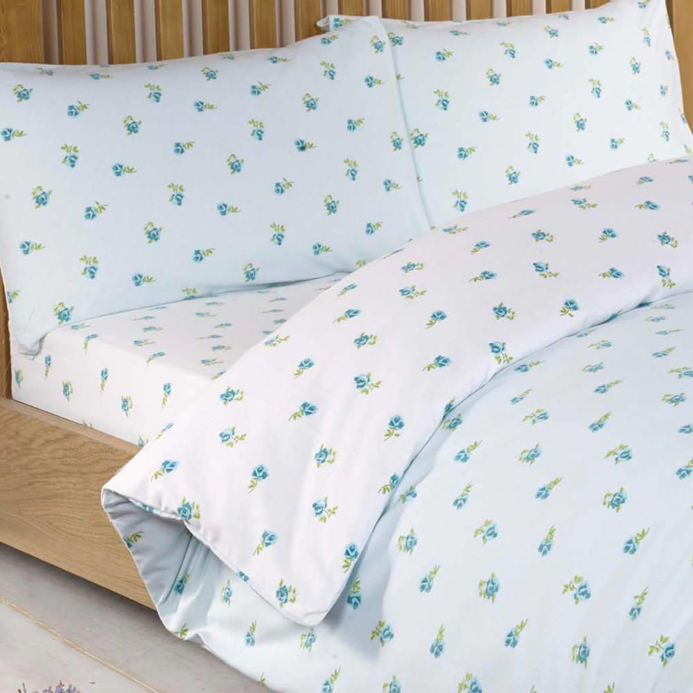 Ditsy Floral Kingsize Fitted Sheet Blue From Litecraft