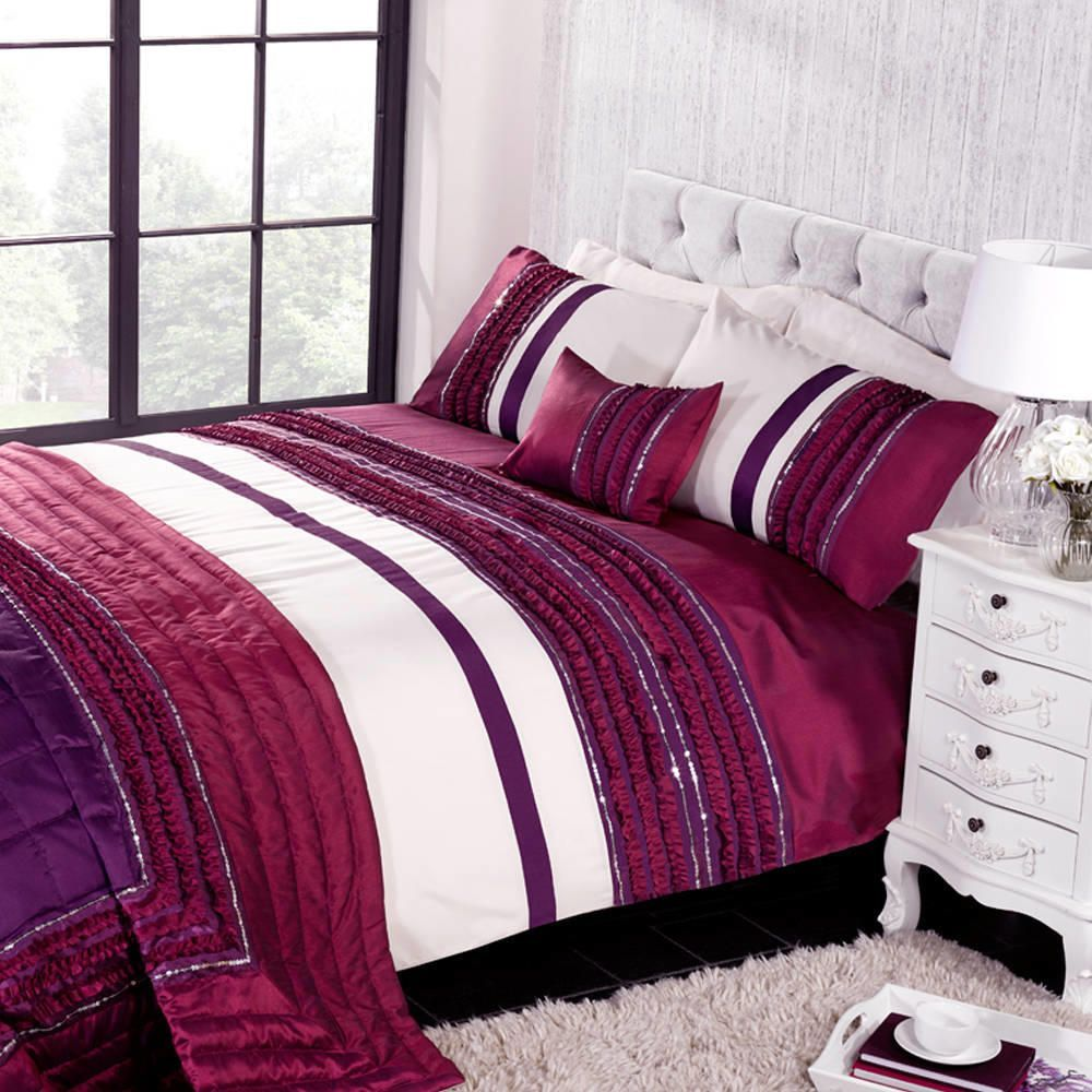 Glamour King Size Duvet Set  Plum