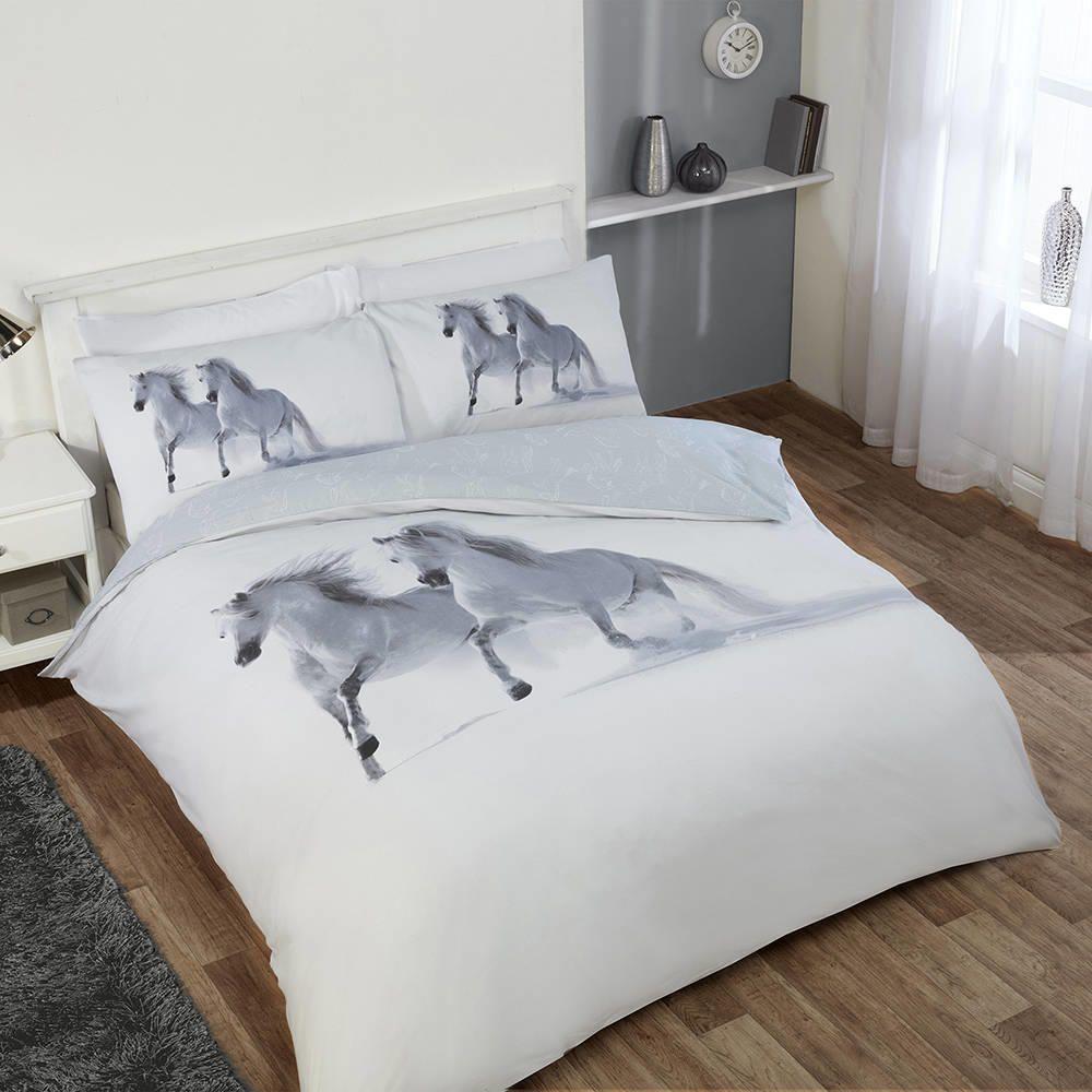 Horses 200cm x 200cm Double Duvet Set  White